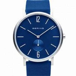 """Bering horloge """" True Aurora Blue 40 mm """" ronde kast in kleur gecoat en voorzien van een gekleurde rubberen band - 212293"""