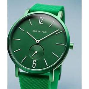 """Bering horloge """" True Aurora Green 40 mm """" ronde kast in kleur gecoat en voorzien van een gekleurde rubberen band - 211209"""