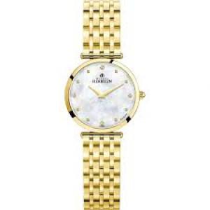 """Michel Herbelin horloge """" Epsilon """" zwitsers uurwerk; extra platte PVD geel verguld stalen kast en band,  saffierglas , lichte parelmoerwijzerplaat + briljant - 211114"""