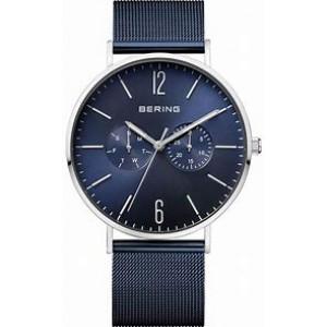 stalen Bering horloge , ronde kast en blauwe wijzerplaat, separate dag en datumaanduiding, milanaise band blauw gecoat, refnr 17140-307 - 212775