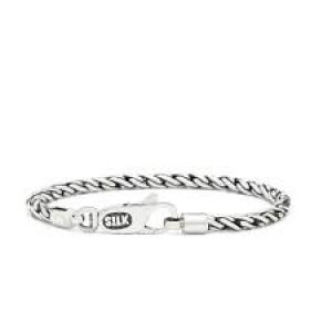 Silk armband, geoxydeerd zilver met karabijnhaak - 210123