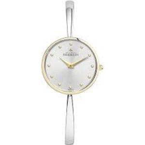 Michel Herbelin bicolor dameshorloge voorzien van strakke stalen spangband, saffier glas en de lunette en kroon zijn geel verguld. - 212523
