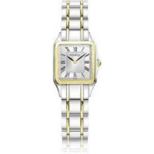 """Michel Herbelin horloge """" Luna square """" zwitsers uurwerk; bicolor stalen kast en band,  saffierglas , wijzerplaat zilverkleur met romeinse index - 211107"""
