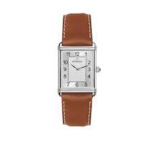 """Michel Herbelin horloge """" Art Deco """" zwitsers uurwerk; stalen kast + lederen band + saffierglas - 211099"""