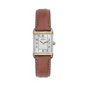 """Michel Herbelin horloge """" Art Deco """" zwitsers uurwerk; stalen kast + lederen band + saffierglas - 211100"""