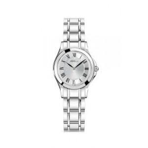 """Michel Herbelin horloge """" Luna ronde """" zwitsers uurwerk; stalen kast en band,  saffierglas , wijzerplaat zilverkleur met romeinse index - 211109"""