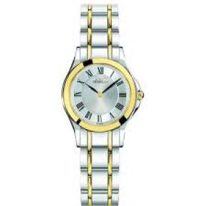 """Michel Herbelin horloge """" Luna ronde """" zwitsers uurwerk; bicolor stalen kast en band,  saffierglas , wijzerplaat zilverkleur met romeinse index - 211108"""