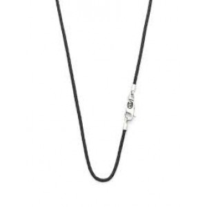 silk collier 60 cm rond lederen model met zilveren eindstukken en karabijnhaak, model 179BLK - 211344