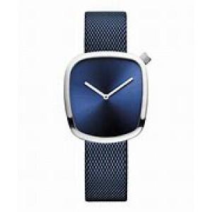 Bering dames polshorloge; pebble Blauw met blauw milainaise band - 212864