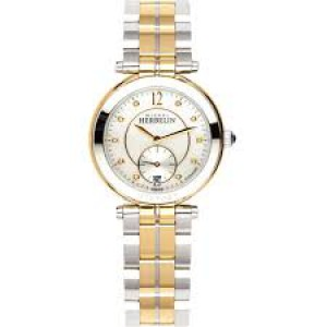 "Michel Herbelin horloge "" Newport Classics "" zwitsers uurwerk; bicolor stalen kast + band, saffierglas + parelmoer + briljant, 5 atm WD - 211101"