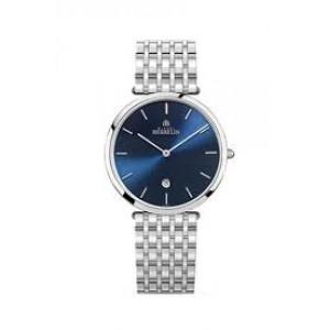 """Michel Herbelin horloge """" Epsilon """" zwitsers uurwerk; extra platte stalen kast en band,  saffierglas , blauwe wijzerplaat + streepindex - 211110"""