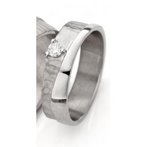 18 krt witgouden Ines Bouwen partnerring model 2_1 waarin 1 x 0.10 ct briljant geslepen diamant is gezet, ringbreedte ca 5,5 mm - 213250
