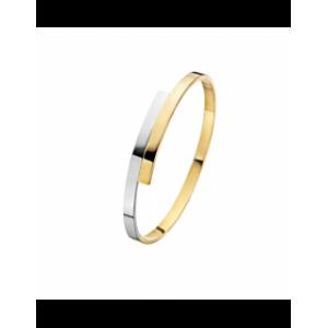 Fjory 14 karaats geelgouden slavenband bi-colour 4 mm ( met zilveren kern ) - 201728