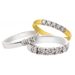14 krt geel- en witgouden Eclat alliance ring model M101 met 3 x 0.02 ct G-VS briljant geslepen diamant - 204997