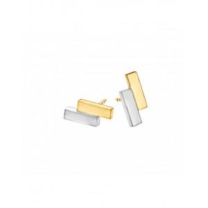 Fjory 14 krt wit- en geelgouden oorstekers verspringend 3 mm vierkant met een zilveren kern - 207690