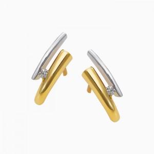 14 krt bicolor gouden Eclat stekercreolen, elk voorzien van een 0.03 ct briljant geslepen diamant TW/Si - 210254