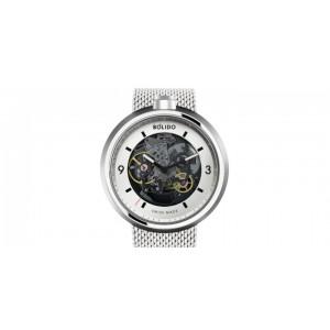 Bolido design horloge, automaat swiss made, model Core skelet met een stalen kast welke zwart gecoat is aan beide zijde's een saffierglas - 211077
