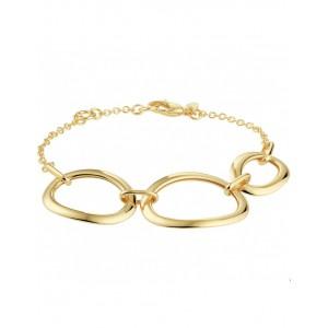 14 geelgouden fantasie armband 17 + 2 cm , middenstuk bestaande uit 3 grote, ovale en open sierschakels - 211625