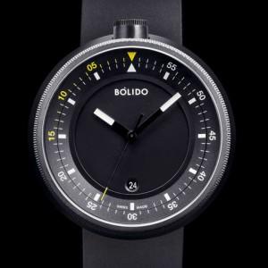 Bolido X design horloge, automaat swiss made, model CD, stalen kast welke zwart gecoat is aan beide zijde's een saffierglas,zwarte wijzerplaat met gele accenten 5 atm WD - 213046