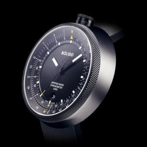 Bolido X design horloge, automaat swiss made, model LOG/rekenlineaal, stalen kast 45,5 mm aan beide zijde's een saffierglas,zwarte wijzerplaat met zilverkleurige rand en rode accenten 5 atm WD - 213049