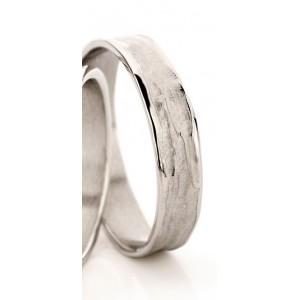 18 krt witgouden Ines Bouwen partnerring model 22_1 ca 4,5 mm brede handgemaakte partnerring - 213248