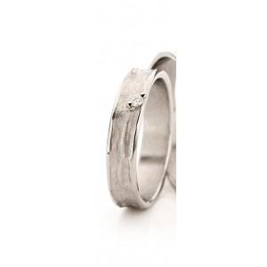 18 krt witgouden Ines Bouwen partnerring model 22_1 waarin 1 x 0.04 ct briljant geslepen diamant is gezet - 213247
