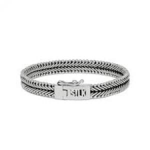 silk armband, geoxydeerd zilver met insteekveer en veiligheidsachtje - 209305