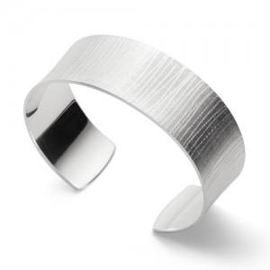 Bastian zilveren klemarmband, in lijnen gematteerd - 211227