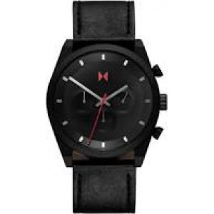 "MVMT "" Element Chrono 44 mm ""  stalen kast zwart gecoat en lederen band, refnr : 28000045-D - 211550"