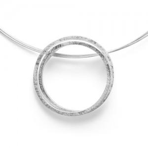 bastian Zilveren hanger, gematteerde cirkels - 211221