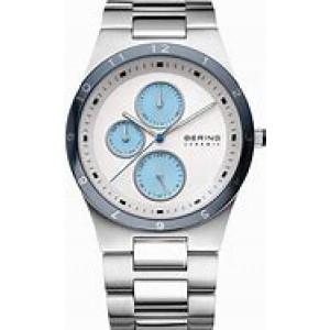 Bering horloge edelstalen kast en band, keramiek lunette en blauwe accenten, refnr : 32339-707 - 204244
