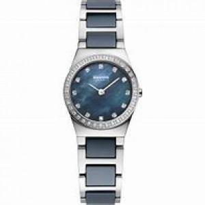 Bering horloge stalen kast en band, band voorzien van keramiek schakels, zirkonia index en lunette - 206370
