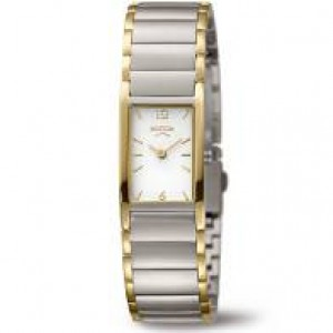 Boccia bicolor dames titanium horloge, rechte kastvorm, lichte wijzerplaat met streepindex model 3284-02 - 210170