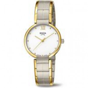 Boccia bicolor titanium dames horloge , met lichte wijzerplaat en saffierglas , refnr 3313-02 - 212527