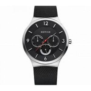 Bering horloge stalen ronde kast , multihand wijzerplaat donker, milanaise band is zwart gecoat en voorzien van vouwsluiting - 212151
