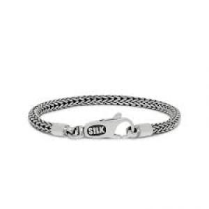Silk armband, geoxydeerd zilver met karabijnhaak - 209357
