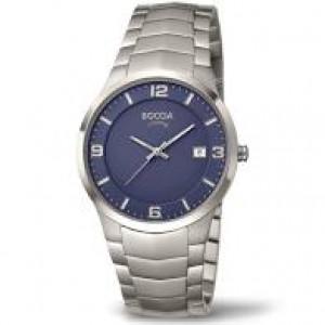 Boccia titanium heren horloge met schakelband ref 3561-04 blauwe plaat - 208286