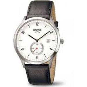Boccia titanium heren horloge , lichte wijzerplaat,seperate rode sec.wijzer - 208279