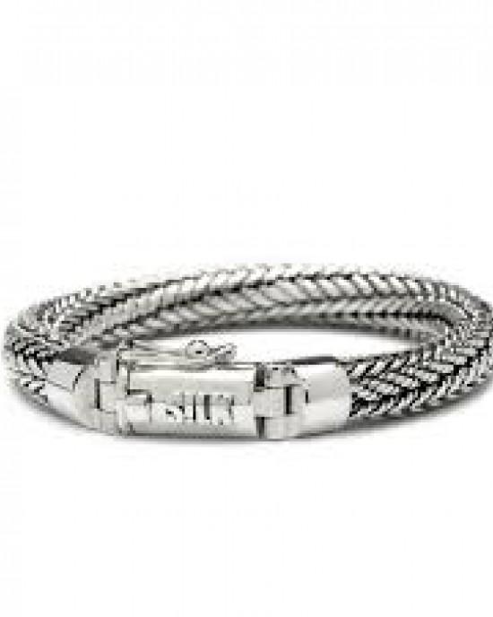 """silk armband, geoxydeerd zilver met fraai """"koker"""" slot met insteekveer+ veiligheidsachtje - 209347"""