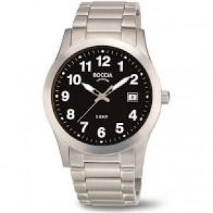 Boccia titanium horloge donkere duidelijke wijzerplaat met arabische index,refnr : 3619-03 - 212529