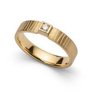 18 karaats geelgouden ring een 0,06 crt. geslepen diamant, gematteerd - 212093