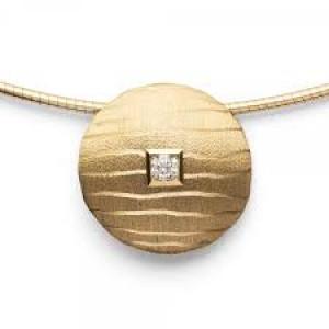 18 karaats geelgouden hanger met een 0,06 crt. geslepen diamant, gematteerd - 212092