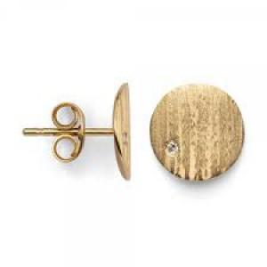18 karaats geelgouden oorstekers met in elk een 0.01 crt briljant geslepen diamant, gematteerd - 212094