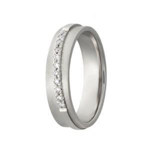 14 krt witgouden AS partnerring mat en glanzend model 391 : 5 x 1,8 mm en verfraaid met 11 x 0.01 ct briljant geslepen diamant VVS/TW, ringmaat 18 - 213148