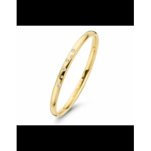 14 krt geelgouden Fjory armband met zilveren kern, 5mm breed, bezet met 7 briljant geslepen diamanten als sterrenhemel gezet ( 7/ 0,21 ct Si/W ) - 209378