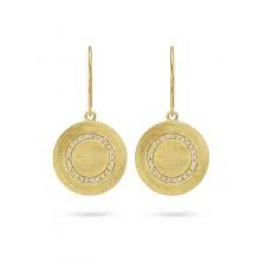 Spirit Icons oorsieraden;Iris hangend zilver geel verguld - 211079