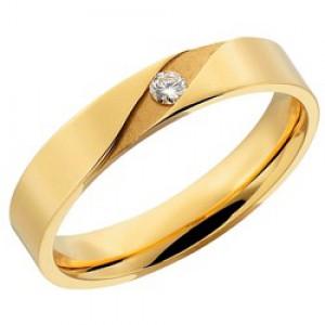 14 krt geelgouden AS partnerring, model 414 in 4 mm x 1,6 mm, gepolijst en verfraaid met 1 x 0.05 ct briljant geslepen diamant TW/VVS, ringmaat 17,5 - 213145