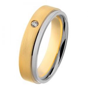 14 krt geel en witgouden AS partnerring, model 431 : 4,7 mm x 1,8 mm, mat en gepolijst, verfraaid met 1 briljant geslepen diamant 0.03 ct TW/VVS, ringmaat 18 - 213147