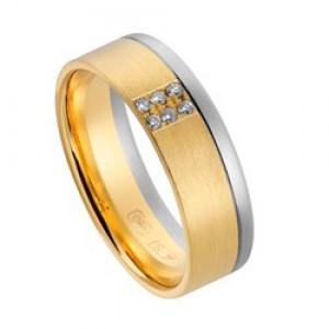 14 krt wit en geelgouden AS partnerring mat en glanzend, model 438 : 6,5 mm x 1,4 mm, verfraaid met 6 x 0.01 ct briljant geslepen diamant TW/VVS ringmaat 16 - 213155