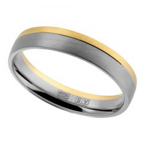14 krt wit en geelgouden AS partnerring mat model 440 : 4,5 mm x 1,6mm ringmaat 20 - 213153